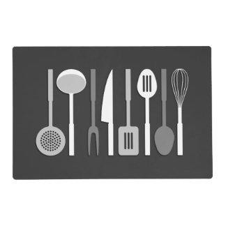 El utensilio de la cocina siluetea el monocromo II Tapete Individual