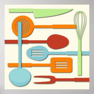 El utensilio de la cocina siluetea ORBLC III Póster