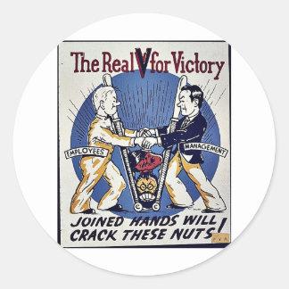 El V real para la victoria Etiqueta Redonda