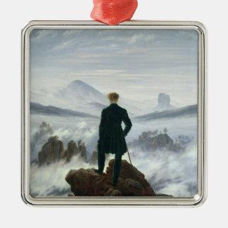 El vagabundo sobre el mar de la niebla, 1818 adorno navideño cuadrado de metal