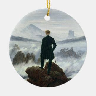 El vagabundo sobre el mar de la niebla, 1818 adorno navideño redondo de cerámica