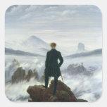El vagabundo sobre el mar de la niebla, 1818 pegatina cuadrada