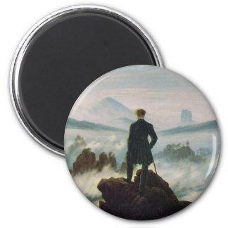 El vagabundo sobre el mar de la niebla imán redondo 5 cm