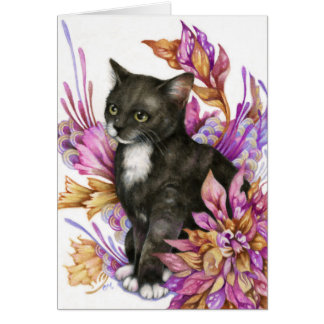 El vagabundo - tarjeta linda del arte del gato del