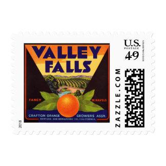 El valle cae etiqueta anaranjada del cajón sello