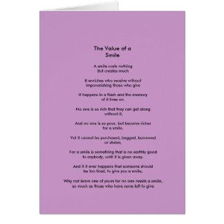 El valor de un poema de la sonrisa tarjeta de felicitación