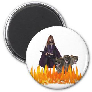 El vampiro caped púrpura con 3 dirigió el perro imán redondo 5 cm