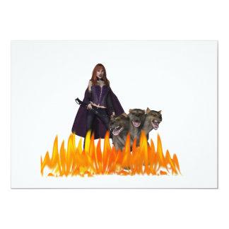 El vampiro caped púrpura con 3 dirigió el perro invitación 12,7 x 17,8 cm
