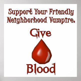 El vampiro da el poster de la sangre