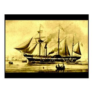 El vapor de paleta, presidente del `', 1840 tarjeta postal