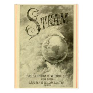 El vapor funciona con el mundo 1904 postal