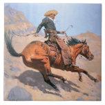 El vaquero (aceite en lona) azulejo cuadrado grande