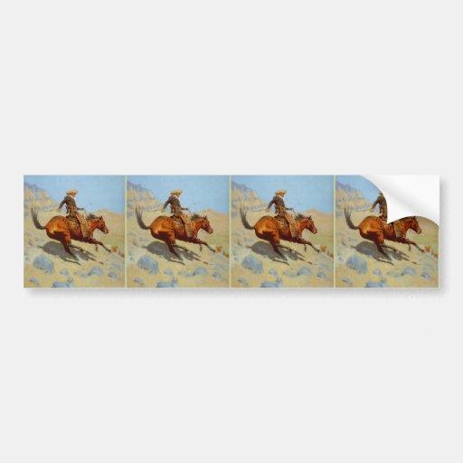 El vaquero de Federico Remington (1902) Etiqueta De Parachoque