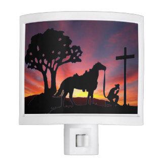 El vaquero en el arte cristiano cruzado de la luz lámpara de noche