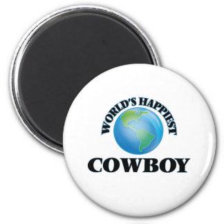 El vaquero más feliz del mundo imán redondo 5 cm
