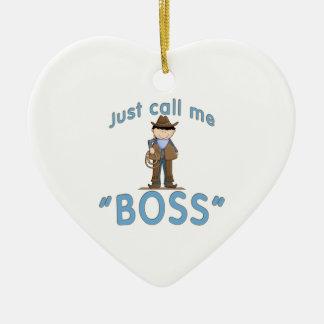 El vaquero me llama BOSS Adorno Navideño De Cerámica En Forma De Corazón