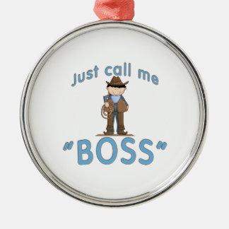 El vaquero me llama BOSS Adorno Navideño Redondo De Metal