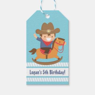 El vaquero occidental lindo embroma etiquetas de etiquetas para regalos