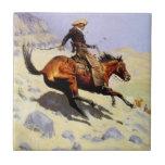 El vaquero por Remington, arte del oeste americano Azulejo