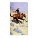 El vaquero por Remington, arte del oeste americano Etiqueta De Envío