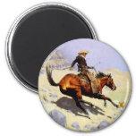 El vaquero por Remington, arte del oeste americano Imán Redondo 5 Cm