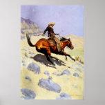 El vaquero por Remington, arte del oeste americano Póster