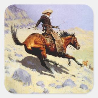 El vaquero por Remington, arte del oeste americano Pegatina Cuadrada
