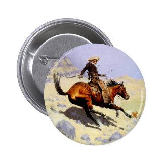 El vaquero por Remington, arte del oeste americano Pins