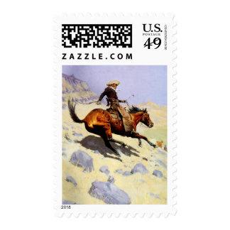 El vaquero por Remington, arte del oeste americano Franqueo