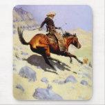 El vaquero por Remington, arte del oeste americano Alfombrillas De Raton