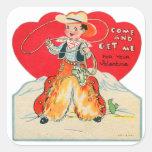 El vaquero retro de la tarjeta del día de San Colcomania Cuadrada