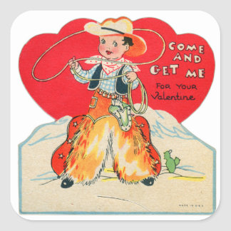 El vaquero retro de la tarjeta del día de San Pegatina Cuadrada