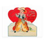 El vaquero retro de la tarjeta del día de San Vale Tarjetas Postales