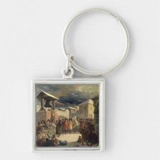 El Veche en la república de Novgorod, 1861 Llavero Cuadrado Plateado