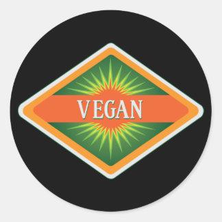 El vegano colorea el logotipo pegatina redonda