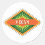 El vegano colorea el logotipo pegatinas redondas