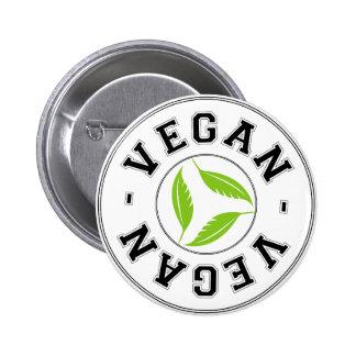 El vegano se divierte el logotipo pin redondo de 2 pulgadas