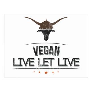 El vegano vivo dejó vivo tarjeta postal