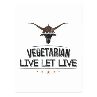 El vegetariano vivo dejó vivo postales