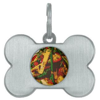 El Veggie sabroso del guisante verde y del tomate Placas Mascota