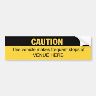 El vehículo marca las paradas frecuentes el perso pegatina de parachoque