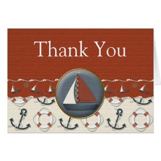 El velero azul blanco rojo náutico le agradece las tarjeta