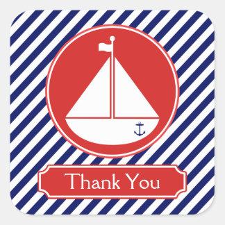 El velero azul y rojo le agradece calcomanías cuadradass