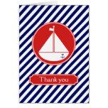El velero azul y rojo le agradece tarjeta
