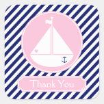 El velero azul y rosado le agradece calcomanías cuadradas
