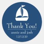 El velero le agradece las etiquetas (azul marino) pegatinas redondas