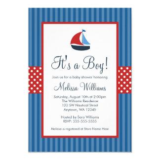El velero náutico raya invitaciones de la fiesta invitación 12,7 x 17,8 cm