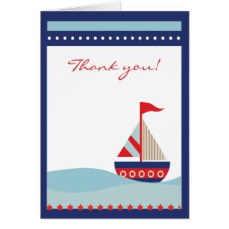 El velero que navega el azul le agradece observar  tarjetón