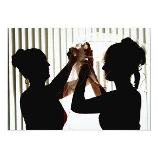 El velo ajusta diseño de la fotografía del esquema invitación 12,7 x 17,8 cm