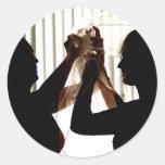 El velo ajusta diseño de la fotografía del esquema pegatina redonda